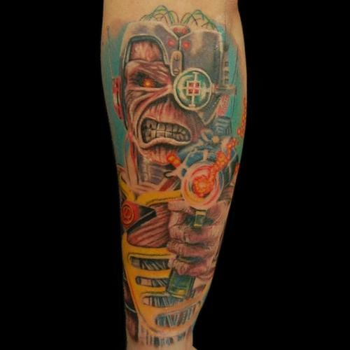 Cyborg Eddie from Iron Maiden, done by Paul at ...  |Iron Maiden Somewhere In Time Tattoo