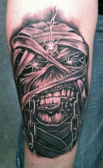 "Mummified Eddie from the ""Powerslave"" era in 1984 tattoo by Bob Tyrell"