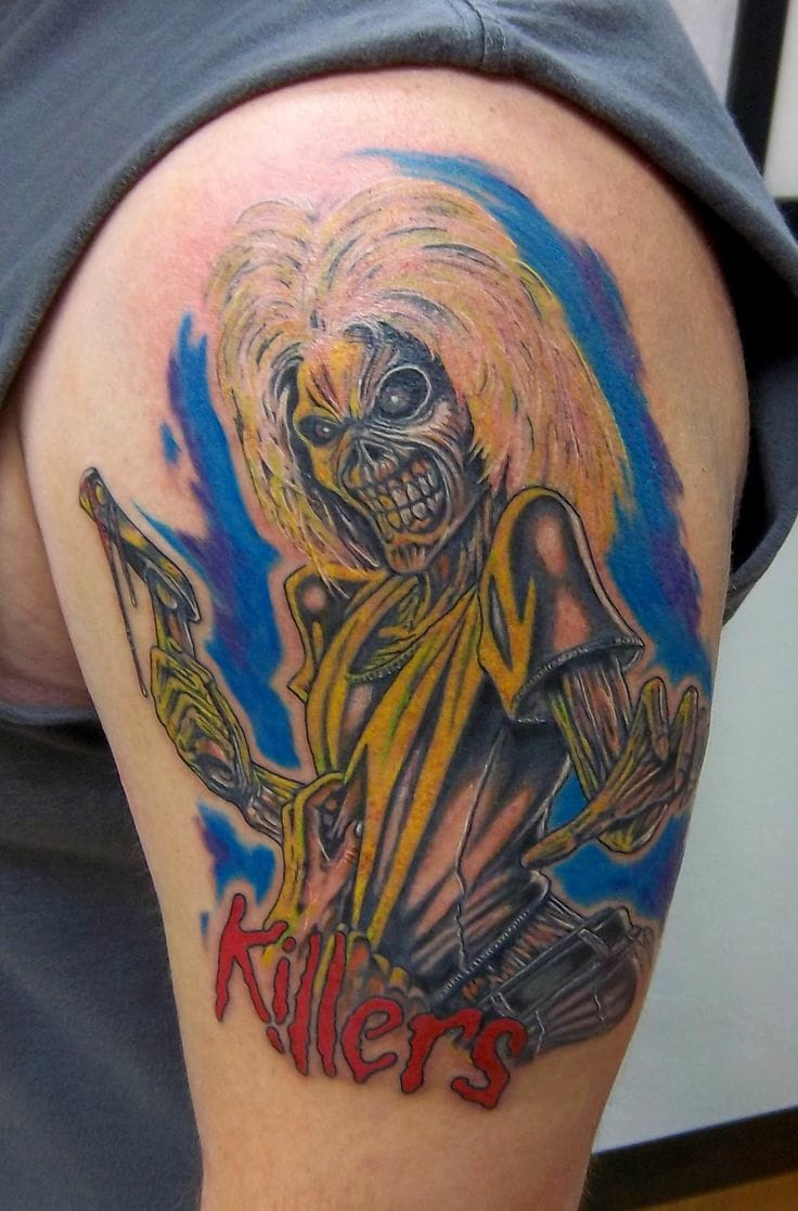 "Another more cartoony 80's style ""Killers"" tattoo from Holy Rollers Tattoo"