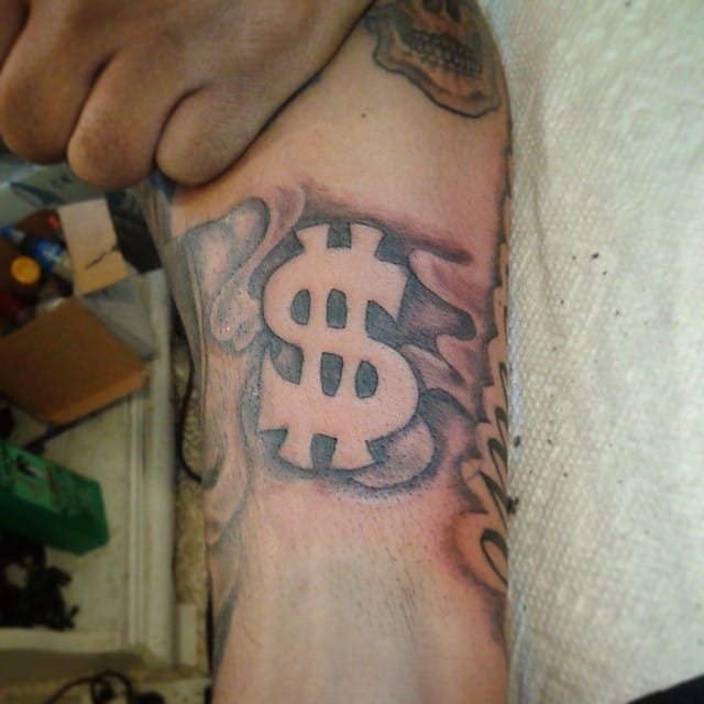Black space dollar sign, done at the Detroit Ink Shop