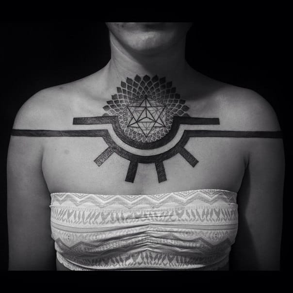 From thicker lines to thinner lines in this impressive chestpiece by Anich Andrew. A great example of geometric tattoos. #geometric #geometry #lines #linework #AnichAndrew #pentagram #pentagramstar