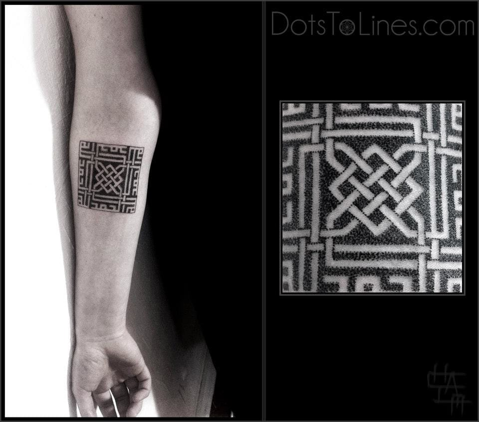 Intricate square tattoo by Chaïm Machlev, one of the masters of geometric tattoos. #geometric #geometry #lines #linework #ChaimMachlev #Square