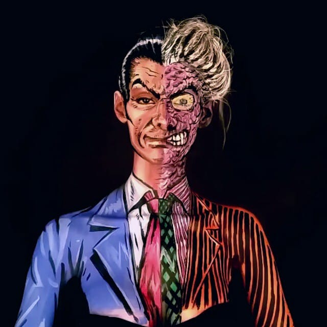 Kay Pike as Two-Face  #bodypaint #cosplay