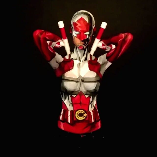 Kay Pike as Captain Canuck #bodypaint #cosplay