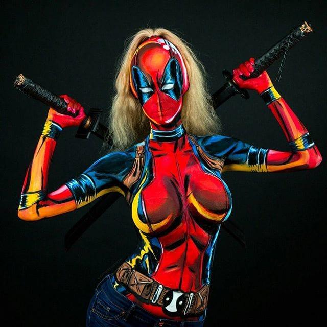 Kay Pike as Lady Deadpool #bodypaint #cosplay