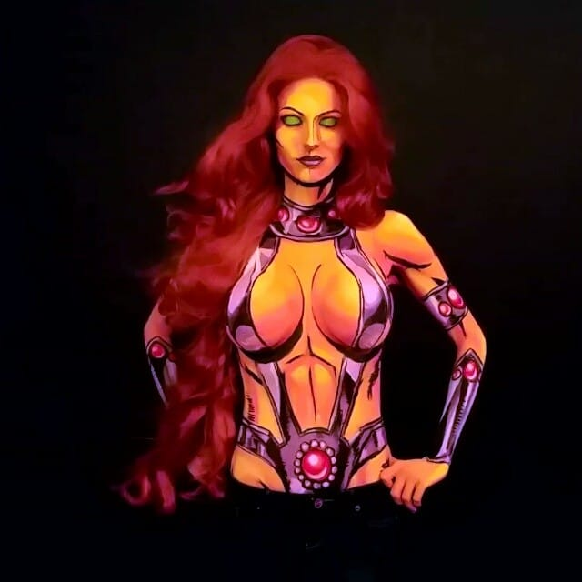 Kay Pike as Starfire #bodypaint #cosplay