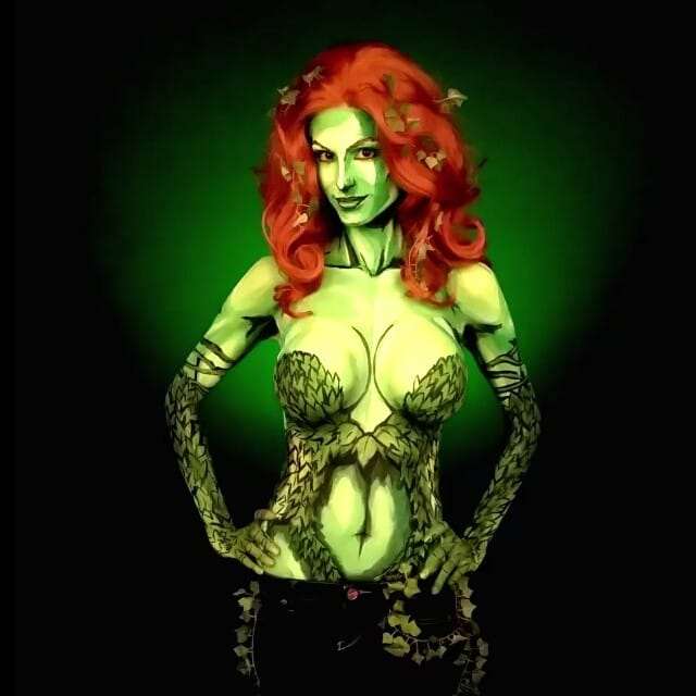 Kay Pike as Poison Ivy #bodypaint #cosplay