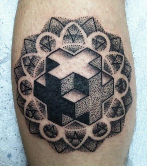 Fractal dotwork 3D tattoo. #geometric #geometry #lines #linework #3D #dotwork