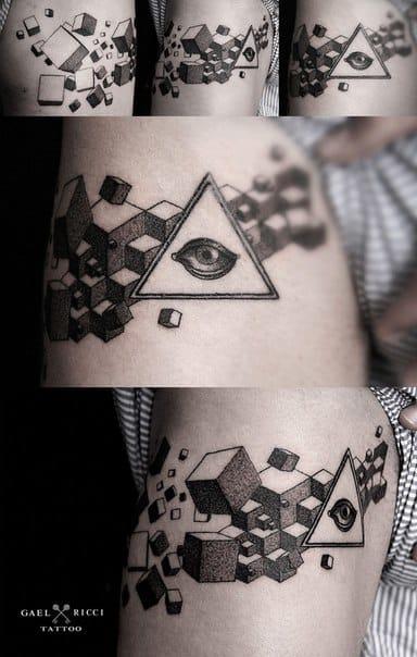 All-seeing eye and cubes by Gaël Ricci. #geometric #geometry #lines #linework #eye #cubes #gaelricci