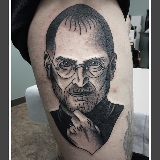 Steve Jobs Tattoo by Maggie Hughes #stevejobs #portrait #traditional #maggiehughes