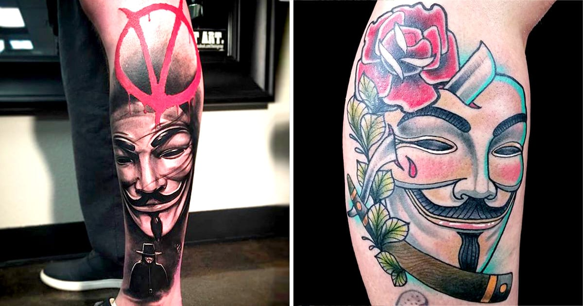 V For Vendetta Mask Tattoo 12 Revolutionar...