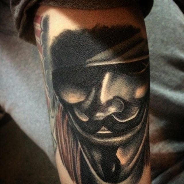 V For Vendetta Tattoo by @ek_ramazing #vforvendetta #movie #portrait