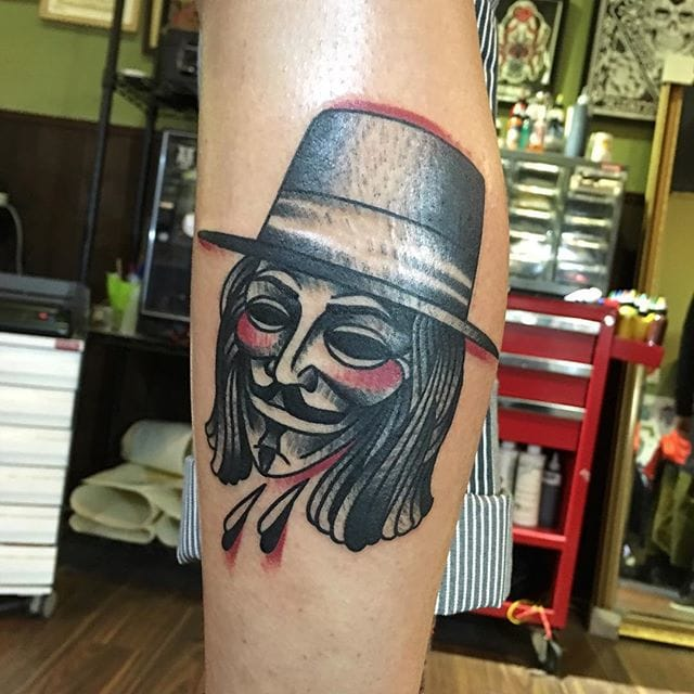 V For Vendetta Tattoo by Jam Wu #vforvendetta #movie #portrait #jamwu