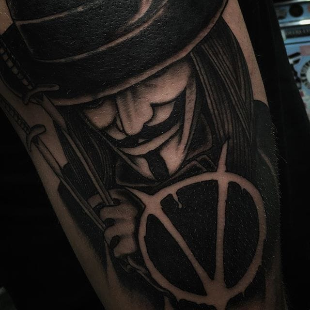 V For Vendetta Tattoo by Joel Rhys #vforvendetta #movie #portrait #joeryhs