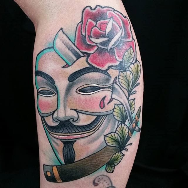 V For Vendetta Tattoo, artist unknown #vforvendetta #movie #traditional