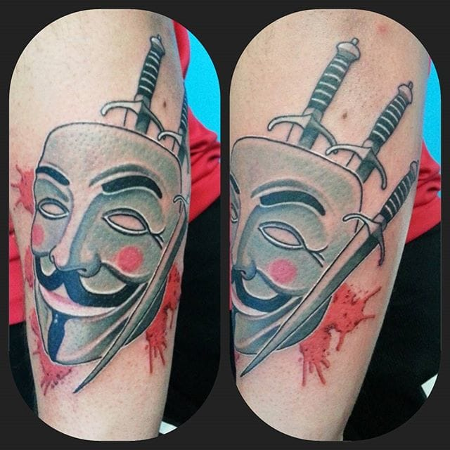 V For Venedtta Tattoo by Marco Tripodi #vforvendetta #movie #portrait #traditional