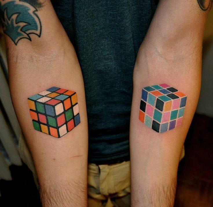 Rubik's Cubes geometric tattoos by Marcin Aleksander Surowiek. Love them! #geometric #geometry #lines #linework #rubikscube #AleksanderSurowiec