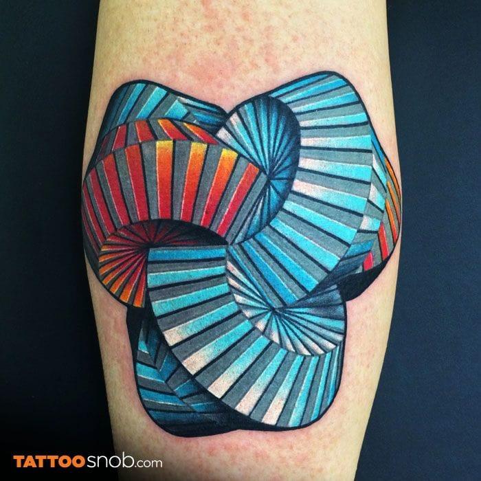 Intricate 3D tattoo by Matt Pehrson.#geometric #geometry #lines #linework #3D
