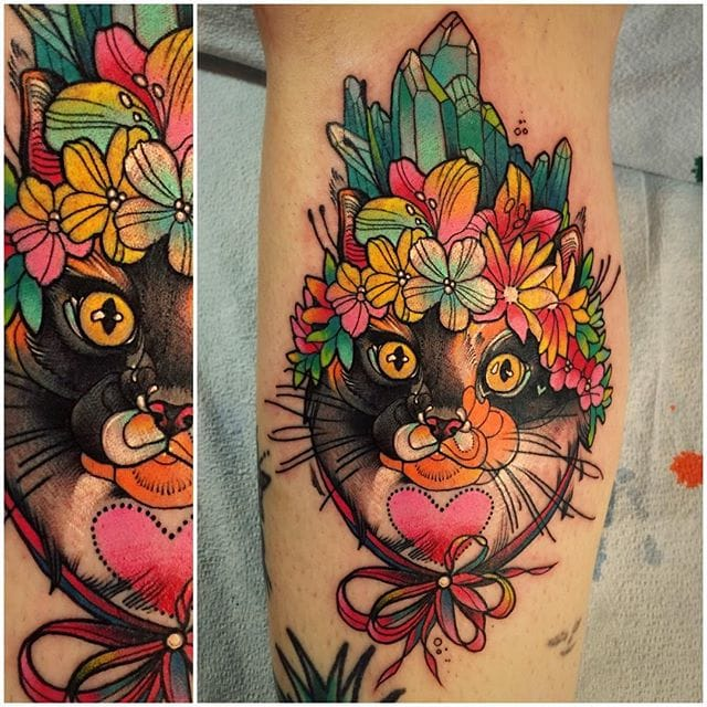 Colorful and Illustrative Tattoos by Katie Shocrylas