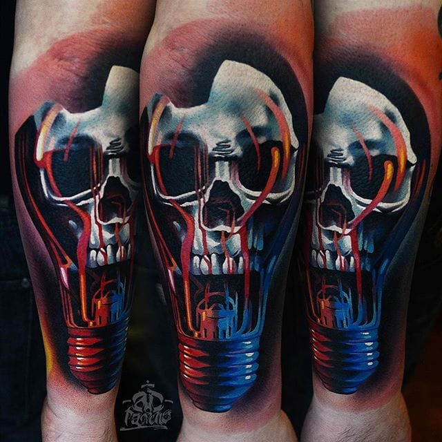 Skull bulb tattoo, amazing work by AD Pancho