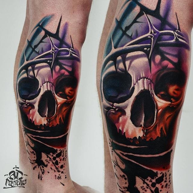 Skull with crown of thorns by AD Pancho