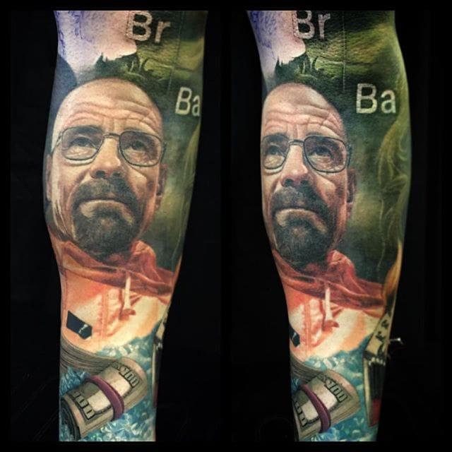 Walter White tattoo by Carlos Rojas