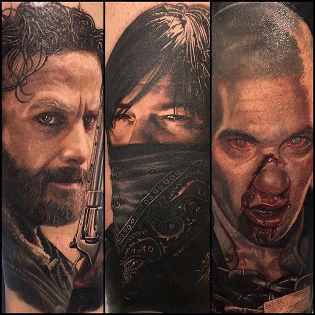 The Walking Dead tattoos by Carlos Rojas