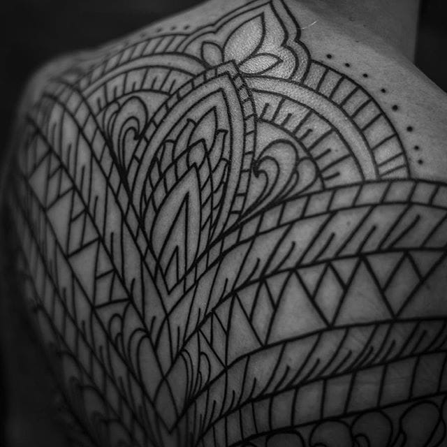 Back tattoo line work done by Dillon Forte