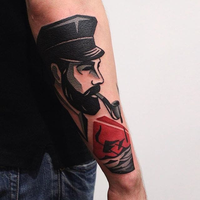 Awesome Black And Red Contemporary Tattoos By Denis Marakhin