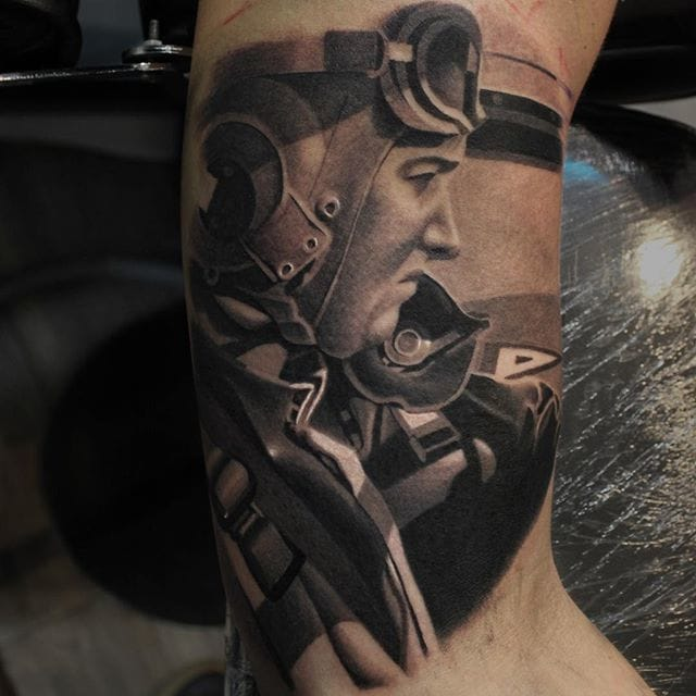 Pilot portrait tattoo by Ryan Evans