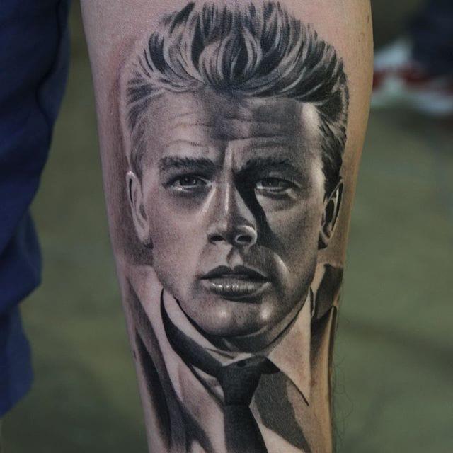 James Dean portrait tattoo by #RyanEvans
