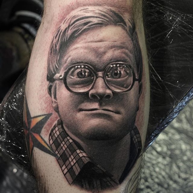 Tattoo by #RyanEvans, check out the effects on his glasses.