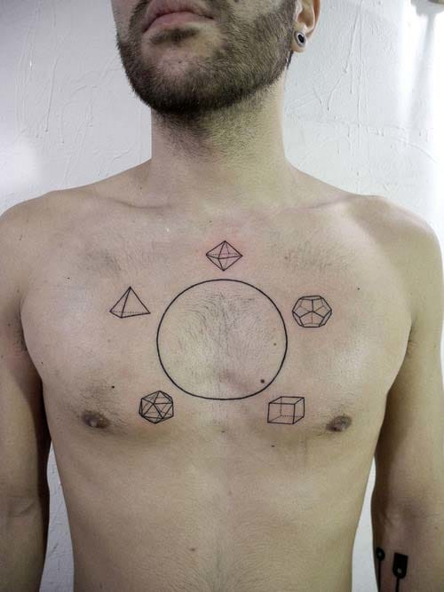 Geometric tattoos. The circle is not wrong, the moles are creating the illusion the line is distorted. By Valentin Hirsh. #geometric #geometry #lines #linework #ValentinHirsch h