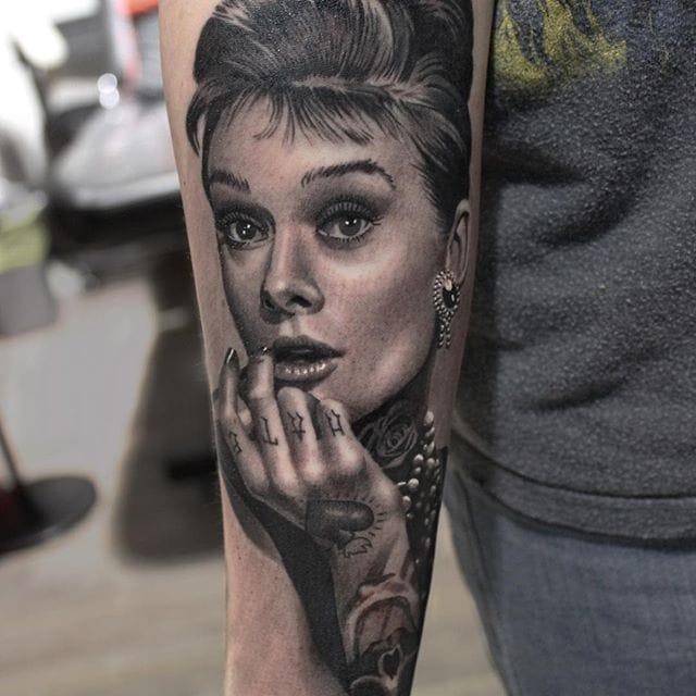 Tattooed Audrey Hepburn tattoo by #RyanEvans