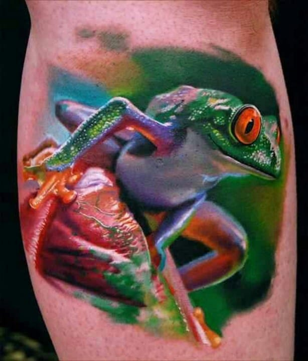 Amazing colorful frog tattoo, artist unknown #frogtattoo #realisticfrogtattoo