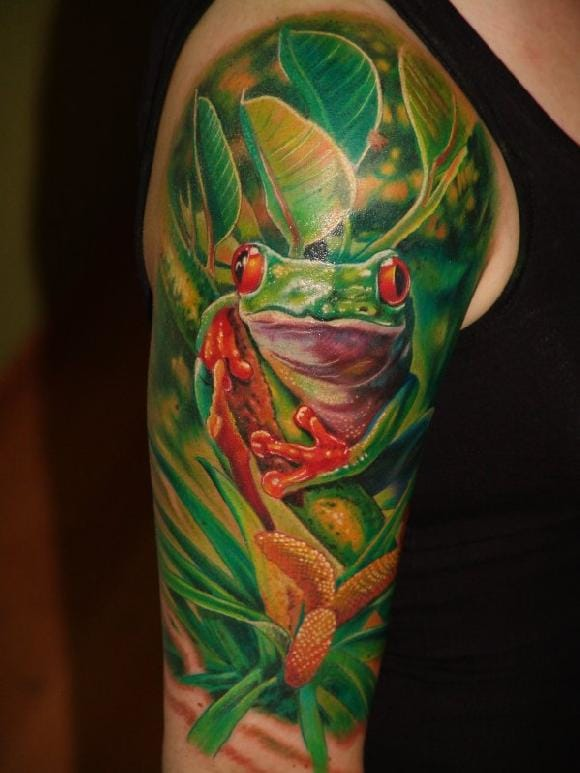 Sweet frog tattoo, unknown artist #frogtattoo #realistictattoo