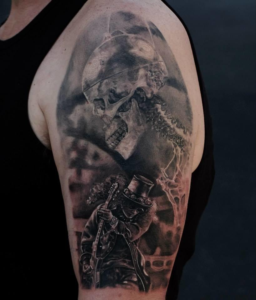 Skull portrait tattoo