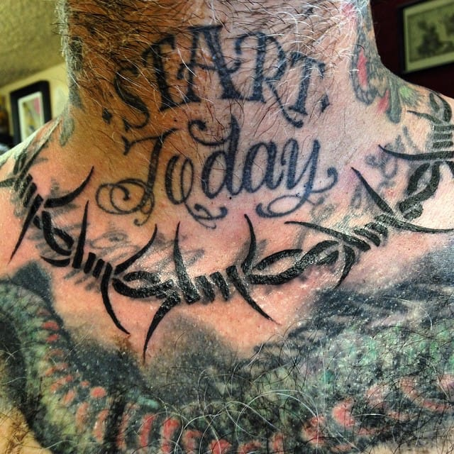 Barbed Wire Tattoo by Nick Rodin #barbedwire #traditional #neck #nickrodin
