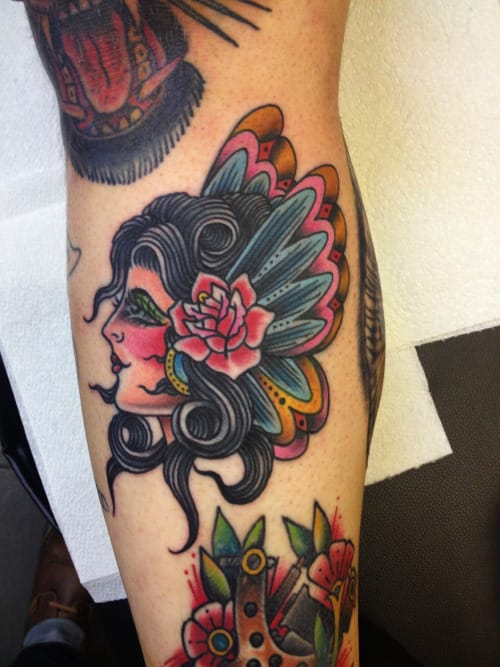 Pretty lady tattoo with butterfly wings on her head by Tyler Monaghan #ButterflyLadyTattoo