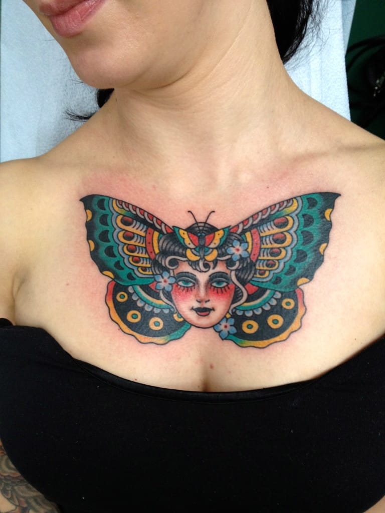 A butterfly lady makes a good placement on the chest as well! #ButterflyLadyTattoo