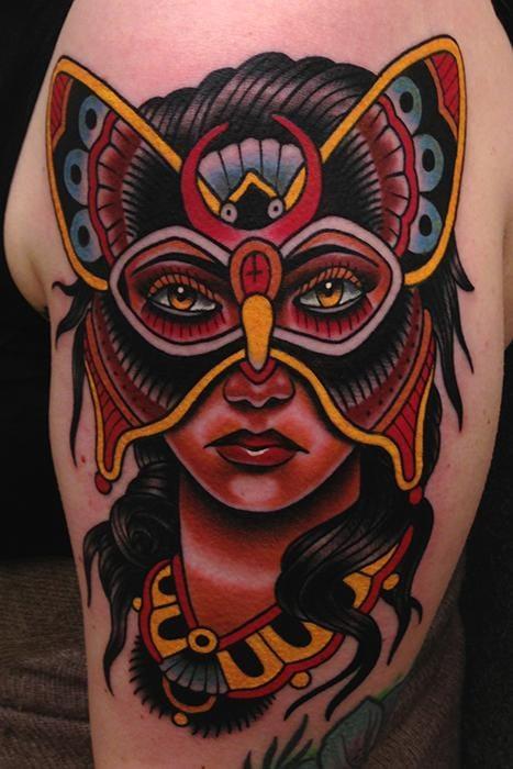 Bright, bold and interesting masked #ButterflyLadyTattoo by Jonathan Montalvo
