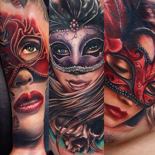 10 Mysteriously Beautiful Masked Lady Tattoos
