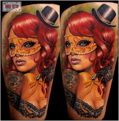 Beautiful Masked Lady Tattoo by Anabi #mask #maskedlady #Anabi #masquerade