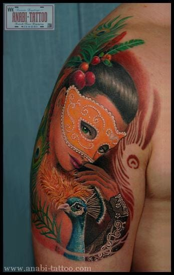 Like the dark side of the moon, she has her secrets. Masked Lady Tattoo by Anabi #mask #maskedlady #Anabi