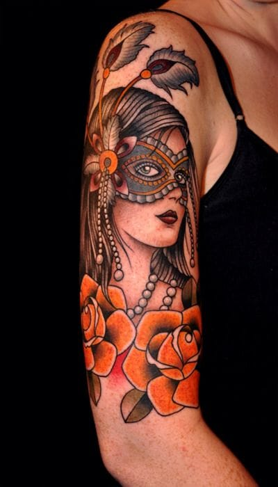 If you want a twist to your ordinary gypsy girl tattoo, add a mask on! Artist unknown #mask #maskedlady #gypsygirl