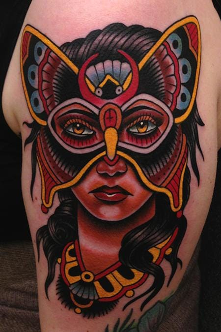 As always, bright & bold traditional work never ceases to amaze! Masked Lady Tattoo by Jonathan Montalvo  #mask #maskedlady #masquerade  #traditional #trad #bold #butterfly #JonathanMontalvo