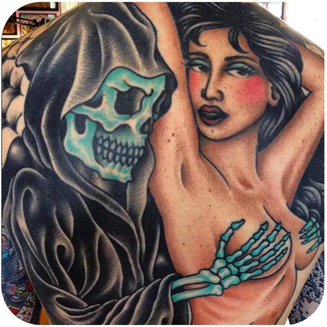 (@steveboltz) #backpiece #traditional #reaper #lady