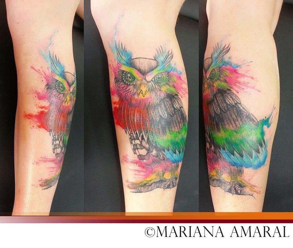 Corujita em aquarela #coruja #aquarela #colorida
