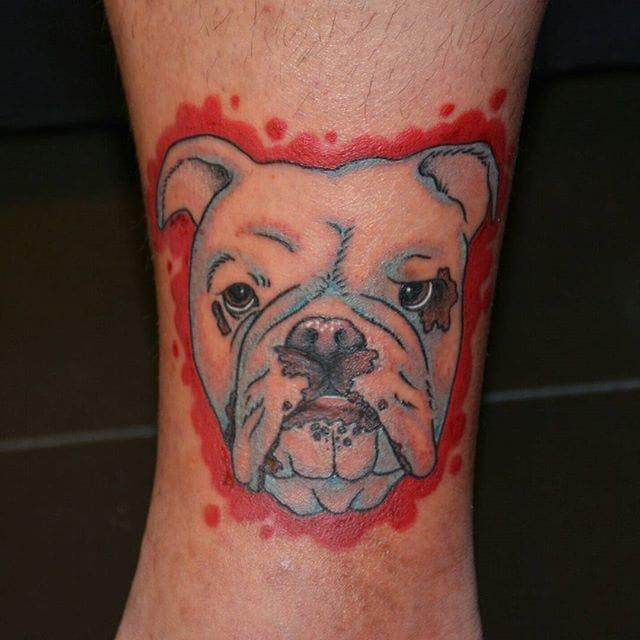 Cool Bulldog, by Lola at Major League Tattoos