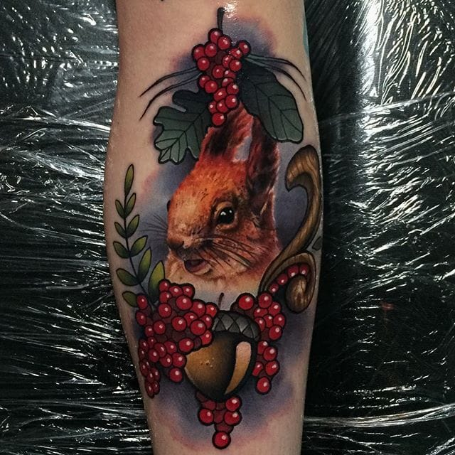 Squirrel tattoo by #JohnBarret #squirreltattoo #realistic #traditional